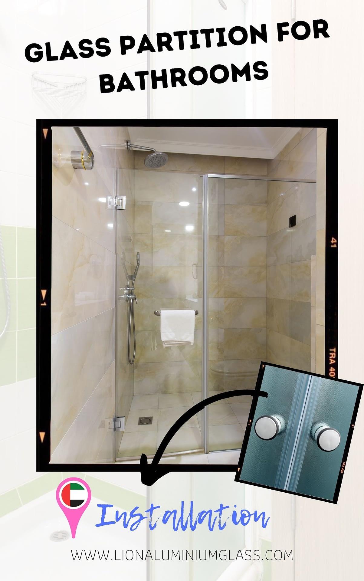 Glass Partition for bathroom shower enclosure